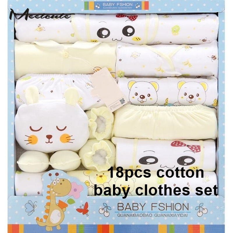 Meetcute New 18pcs Baby Girl Boy Summer Clothes For Newborn Clothing Set Cotton Pink Blue Hats Gloves Bibs Infant Suits Gift summer baby boy clothes set cotton short sleeved mickey t shirt striped pants 2pcs newborn baby girl clothing set sport suits