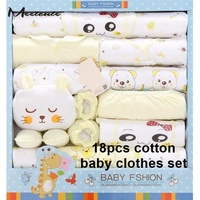 Meetcute New 18pcs Baby Girl Boy Summer Clothes For Newborn Clothing Set Cotton Pink Yellow Blue