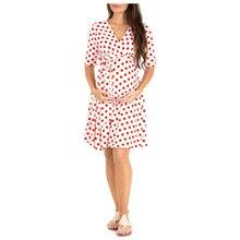 OKLADY 2019 Summer Pregnant Women Boho Dresses Maternity Clothes Mama Casual Polka Dot Bodycon Dress Pregnancy Streetwear L XL