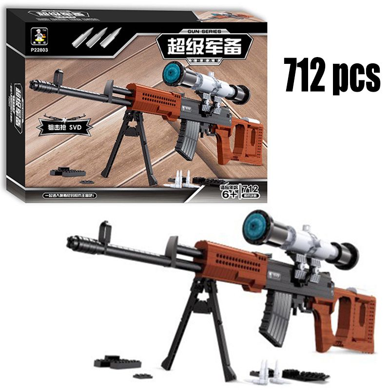 Large Sniper Rifle SVD Building Blocks 712pcs Bricks Educational Toys Model Building Kits DIY 88*25.5 Block No Color Box magpul g lt p moe sniper rifle limited edition