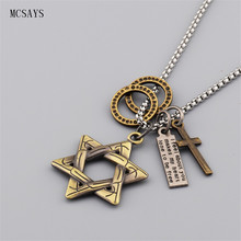 MCSAYS Punk Necklace Retro Star Of David Cross Loop Special Design Pendant Necklace Mens Fashion Accessories Dope Music Gift 3GM