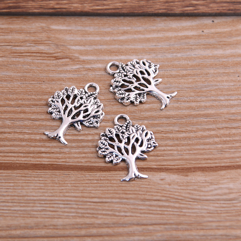 30PCS 16*21mm Plant Charms Tree Pendant Two Color DIY Retro Jewelry Bracelet Necklace Charms Pendant 5