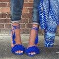 Cosa salvaje Gladiador Mujer Sandalias 2016 de La Borla de Flecos de Gamuza Tacones Altos Lace Up Stiletto Sexy Ladies Zapatos de Mujer Sandalias de Verano