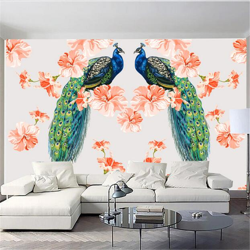 Custom Peacock Wallpaper Peacock Open Screen Nordic 3d Photo Wall Paper Embossed Non-Woven Bedroom Study TV Background Kitchen kitpac101058pacp6409 value kit pacon peacock sulphite construction paper pacp6409 and pacon array colored bond paper pac101058