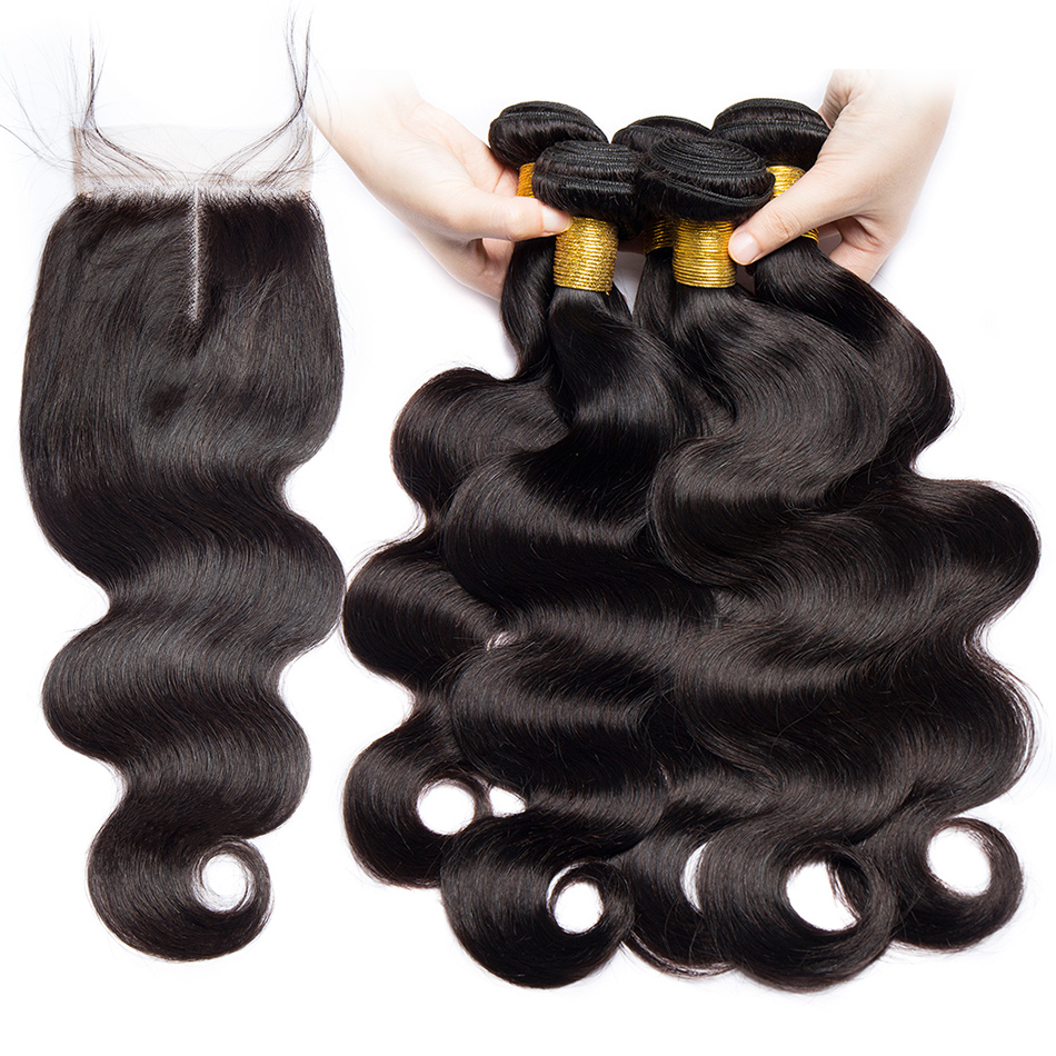 ALIBELE HAIR Malaysian Body Wave 3 4 Bundles With Closure Natural Hair Weave Extensions Remy Human