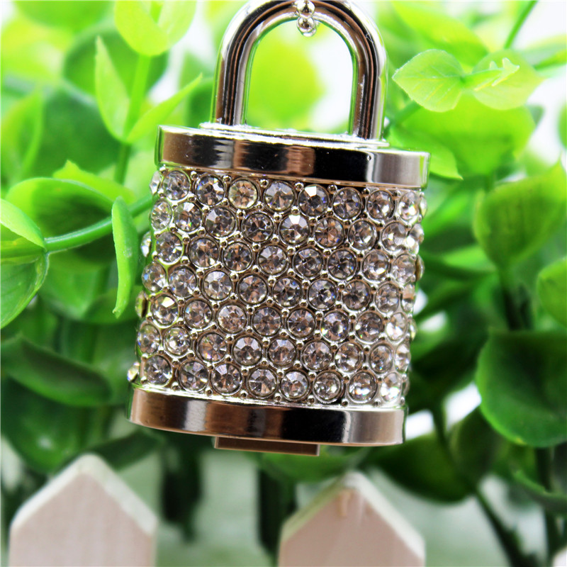 TEXT ME Beautiful Crystal Necklace Crystal Lock Model USB 2.0 Usb Stick Flash Drive 4GB 8GB 16GB 32GB  64GB Pendrive