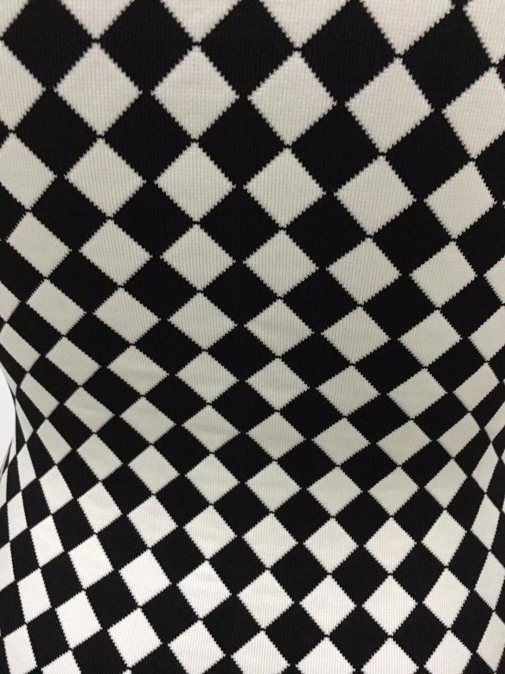 Celebrity Géométrique Impression Noir Robe Épaule Sans Femmes Élégante Date 2018 Parti Robes D'une Manches Blanc Bandage D'été w5CSxOWItq