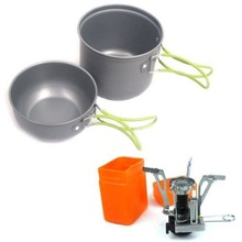 Lightweight Outdoor Camping Picnic BBQ Aluminum alloy Pot + Gas Stove Set Portable Size BBQ Pot Cookware Tool
