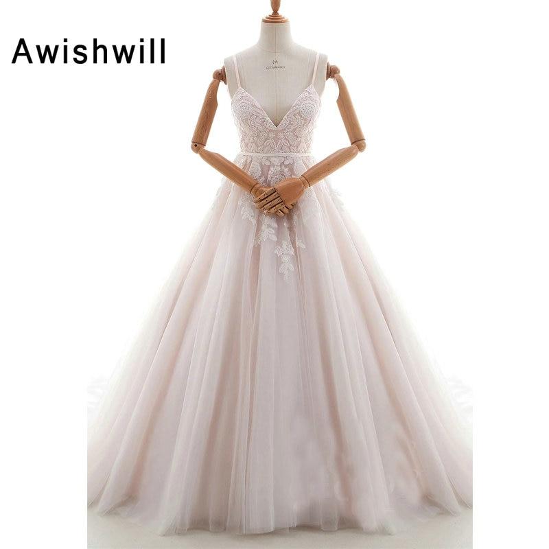 2019 New Fashion Spaghetti Strap Bride Wedding Dresses With V Neck Lace Tulle Elegant Bridal Gown Vestido De Noiva Real Picture