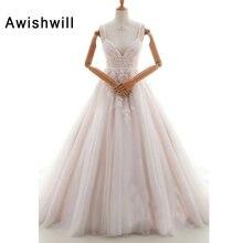 2019 Baru Fashion Spaghetti Strap Bride Pernikahan Gaun dengan V Leher  Renda Tulle Elegan Pengantin Gaun 8d27e369e439