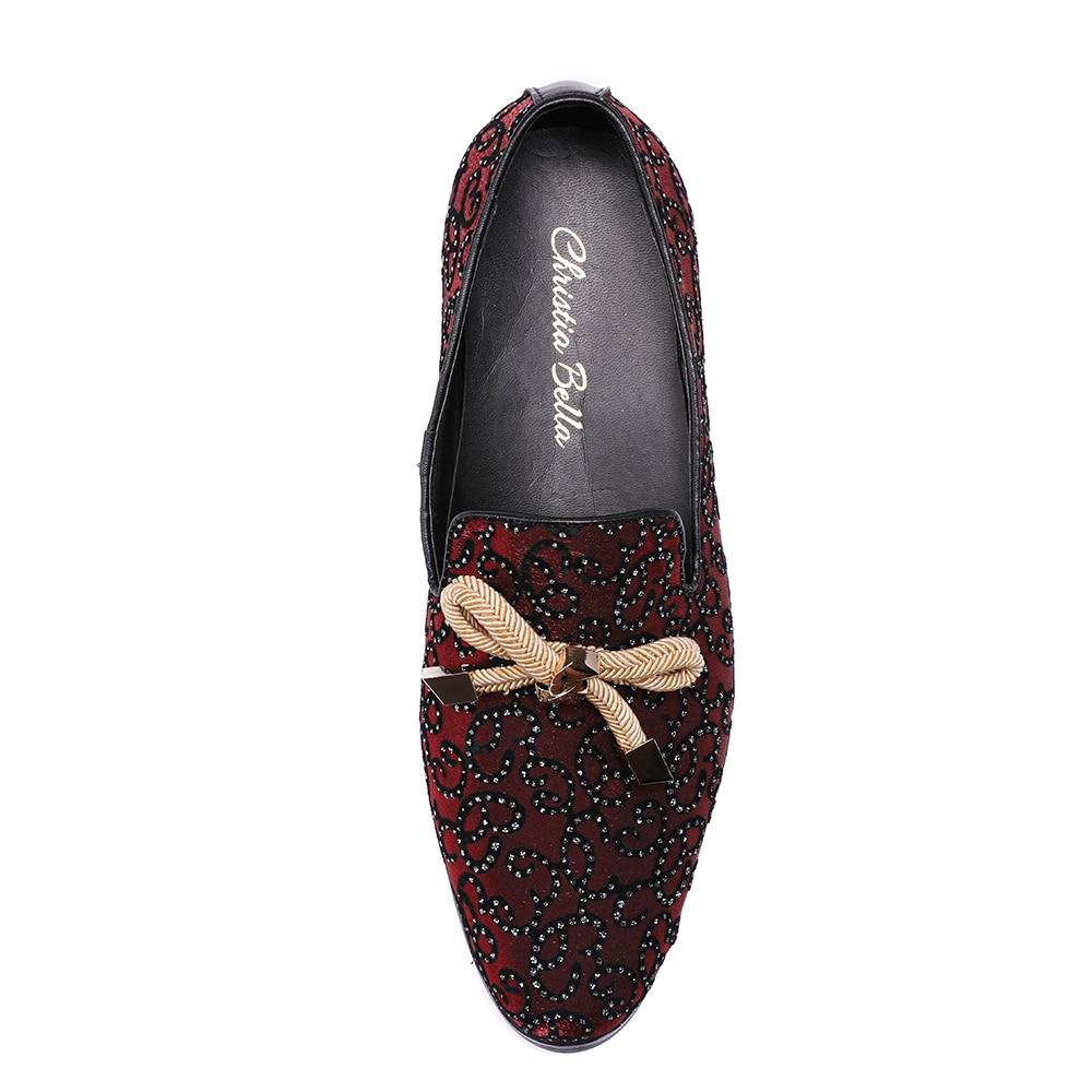 Christia De Avec Pantoufle Fumer Rouge Mocassins Formelle Partie Chaussures Mode Luxe Hommes Banquet Italien Mariage Noeud Bella Robe rUqwWYg4r