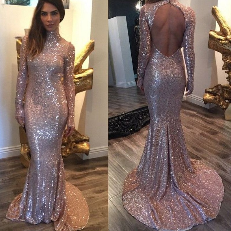 Long Sleeve Mermaid Evening Dresses 2017 Rose Gold Sequins Bling Sweep  Train Sexy Prom Dresses Custom Made Evening Party dress c4a78fe45d24
