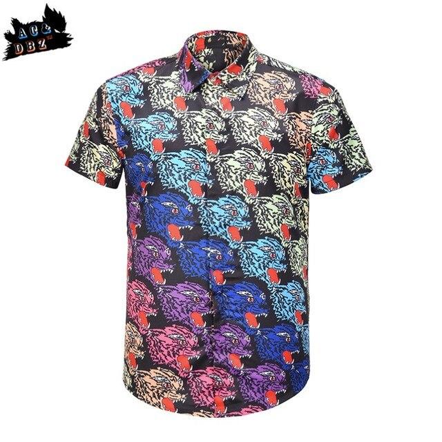 AC DBZ hot brand men s tide brand animal tiger wolf head print shirt men s  fashion short-sleeved shirt casual top 3c693bb568934