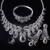 Fine design Jet y Blanco sistemas de la joyería Plateado Platino AAA Cubic Zirconia Engagement Collar + Earring + Pulsera + Anillo conjunto Sin Plomo