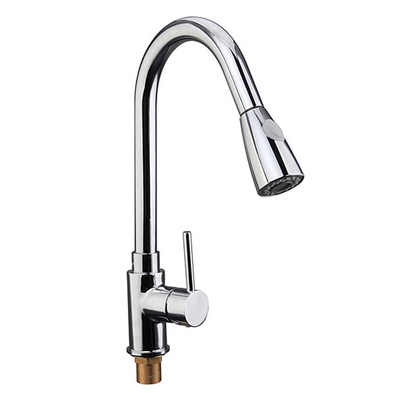 Xueqin 1 Set Modren Pull Out Kitchen Spray Mixer Tap Bath Basin Sink Faucet Copper Chrome