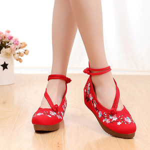 Image 5 - Veowalk Flowers Embroidered Women High Top Canvas Hidden Flat Platforms Ankle Dual Strap Ladies Casual Denim Cotton Shoes