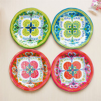 Polka Dot Color DIY Paper Plate Disposable Birthday Party Thick Dessert Plate Cute Dishes Christmas Decoration