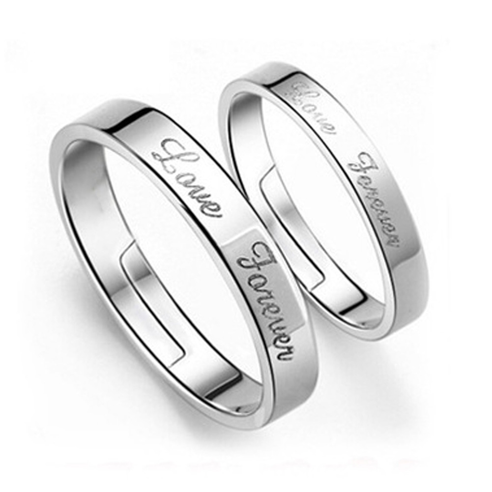 98f5b05453360 Details about UK Silver Plated Open Adjustable Engagement Love Forever  Words Couple Rings