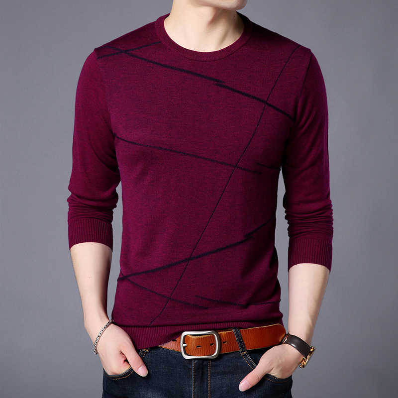 2019 New Fashion Brand Sweater For Men Pullover Woolen Slim Fit Jumpers Knitting Pattern Autumn Korean Style Casual Clothing Men