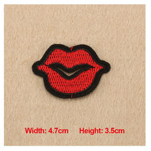 1PC Patches For Clothing Embroidery Red Lips 4.7×3.5cm Patches For Apparel Bags DIY Accessories