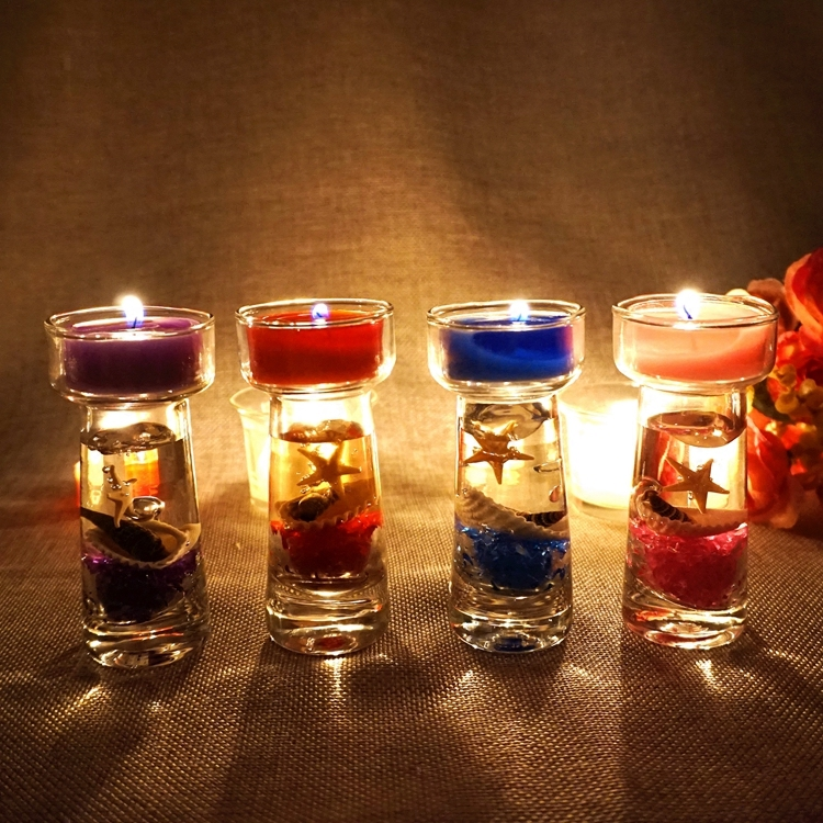 Mediterranean Scented Birthday Weddings Candles Flameless Candles Glass Holder Ocean For Children Gifts Birthday Decoration