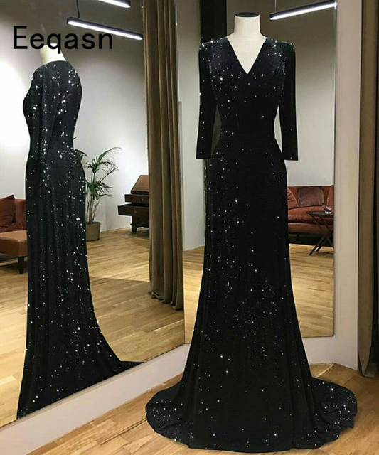 Beautiful Mermaid Black Sequin Evening Dresses 2018 Long Sleeve
