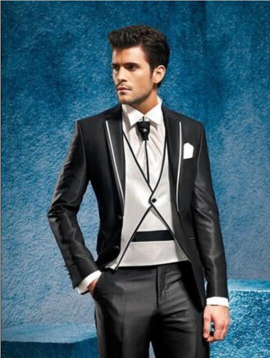 2015 One Button White DarkGray Groom Tuxedos Notch Lapel Best Man ...
