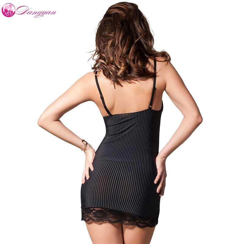 DangYan Горячая черная вертикальная полоса плюс размер Сексуальная Babydoll с ниткой кружева эротические пижамы платье сексуальные костюмы