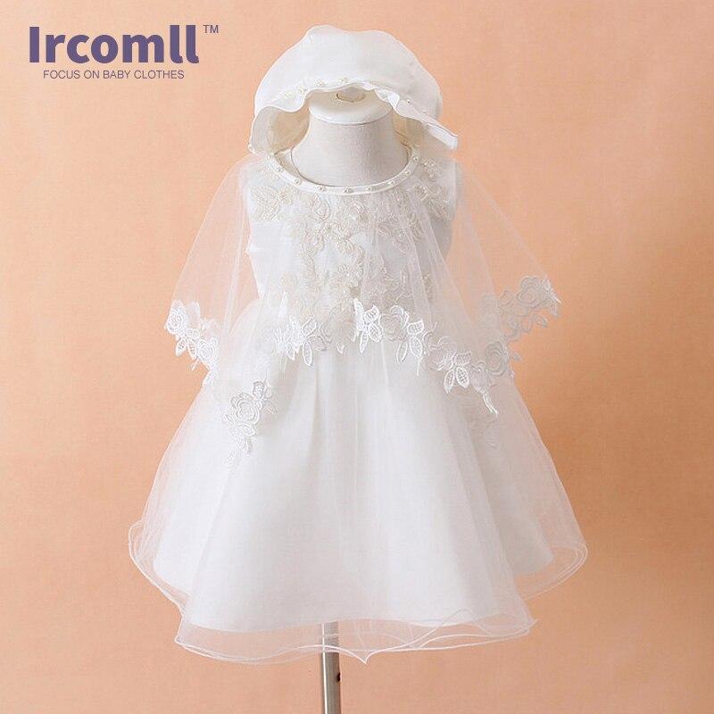 цены High Quality Baby Baptism Dress Infant 0-1 Year Birthday Chirstening Clothes Newborn Baby Christmas Gift Party Dress 3 6 9M