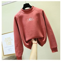 Women Hoodies Sweatshirts letter embroidery Long Sleeve Casual Candy Color Moletom Fleece Harajuku Kawaii Pullovers