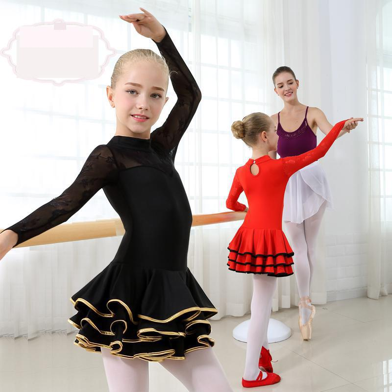 2019 Girl Party Stage Wear Lace Latin Dress Standard Kids Latin Competition Dance Dress Children Salsa Ballroom Dancing Costumes