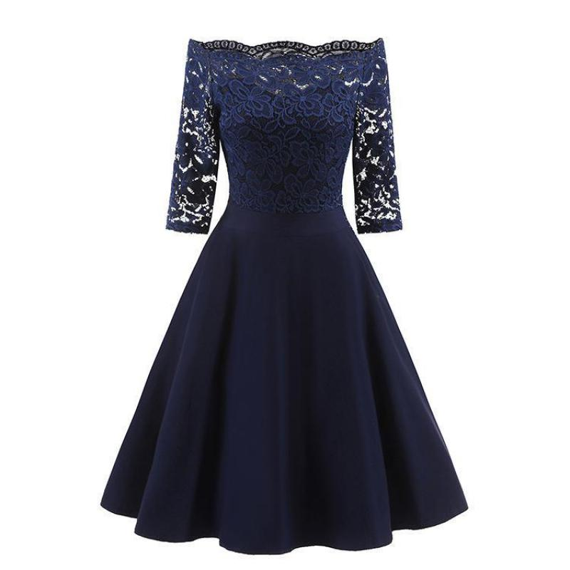 Navy Blue Lace 3/4 Sleeve Elegant Bridesmaid Dress A Line Boat Neck Women Wedding Party Gowns Short Brides Maid Dresses 05457