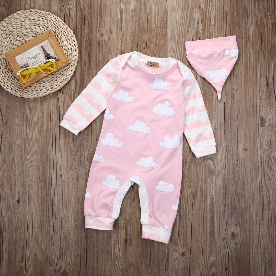 2pcs hat cap Newborn Baby Boys Girls clothes spring autumn new pink cloud Long Sleeve Romper Jumpsuit Hat Outfits Clothes newborn infant baby boy girl cloes rompers caps deer long sleeve jumpsuit hat outfits romper clothes autumn 0 24 m