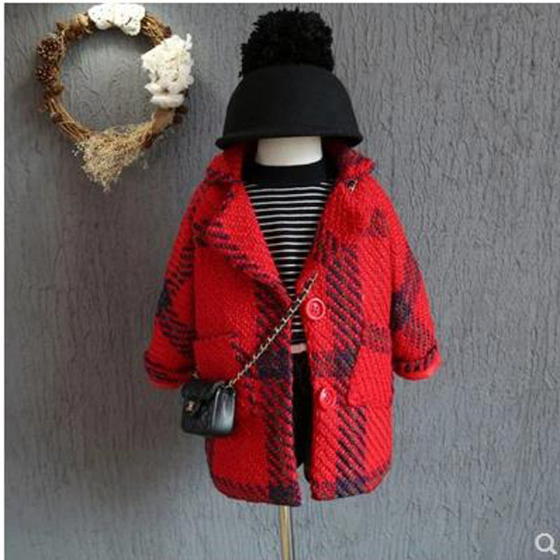Girls woolen coat Korean fashion plaid princess thickening children's long section woolen coat 2018 new girl wool coat one button design longline woolen coat page 7