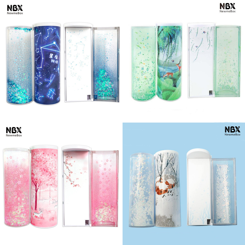 Quicksand Translucent Creative Multifunction Cylindrical Pencil Box Case 2019 school Stationery Pen Holder Pink Blue calculator