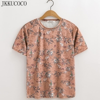 JKKUCOCO Flowers Birds Print Chinese Style Women T Shirt Short Sleeve Casual T Shirt Summer Tees