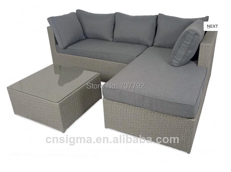 2017 Calabria Grey Outdoor Rattan Furniture Contemporary Sofa Sets With Glass China Mainland