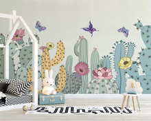 beibehang Custom 2019 Nordic Hand-painted American Garden Cactus Childrens Room Background 3d Wallpaper wall papers home decor