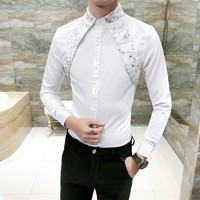 Sequined Lace Strap Tuxedo Shirt Men Black White Fashion Brand Slim Fit Party Prom Dress Shirts Long Sleeve Casual Work Shirt