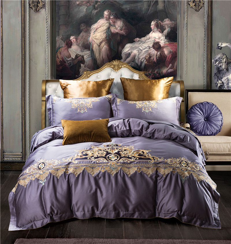 2018 Luxury Bedding Set Queen King Size 4pcs Bed Linen Soft Bed Cover European Bedclothes Purple Embroidery Duvet Cover Sets2018 Luxury Bedding Set Queen King Size 4pcs Bed Linen Soft Bed Cover European Bedclothes Purple Embroidery Duvet Cover Sets