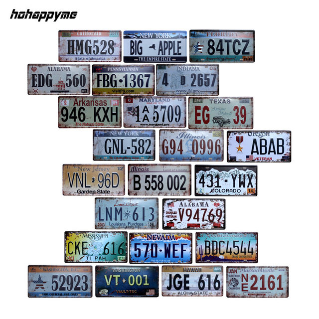hohappyme American Car Plates Number USA License Plate Garage Plaque Metal Tin Sign Bar Decoration Vintage  sc 1 st  AliExpress.com & hohappyme American Car Plates Number USA License Plate Garage Plaque ...