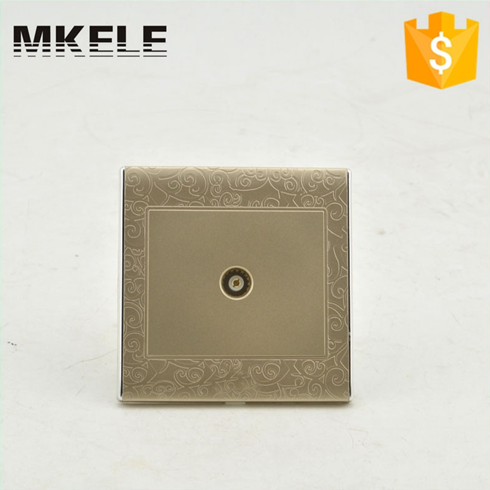 High Quality MK-WS05018 Germany PC Material Temperature Resistant Silver Alloy Contact 220V Standard TV Wall Socket dixinge high quality brand german standard socket wall socket tv outlet silvery were pc material panel b120 l134
