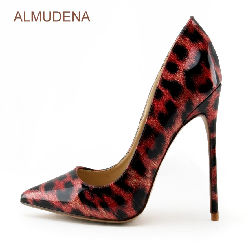 ALMUDENA Sexy Red/black Leopard Printed Dress Shoes Pointed Toe Color Block Pumps Thin High Heel Low Cut Party Shoes For Wedding graceful low cut wrap high slit print pure color maxi dress