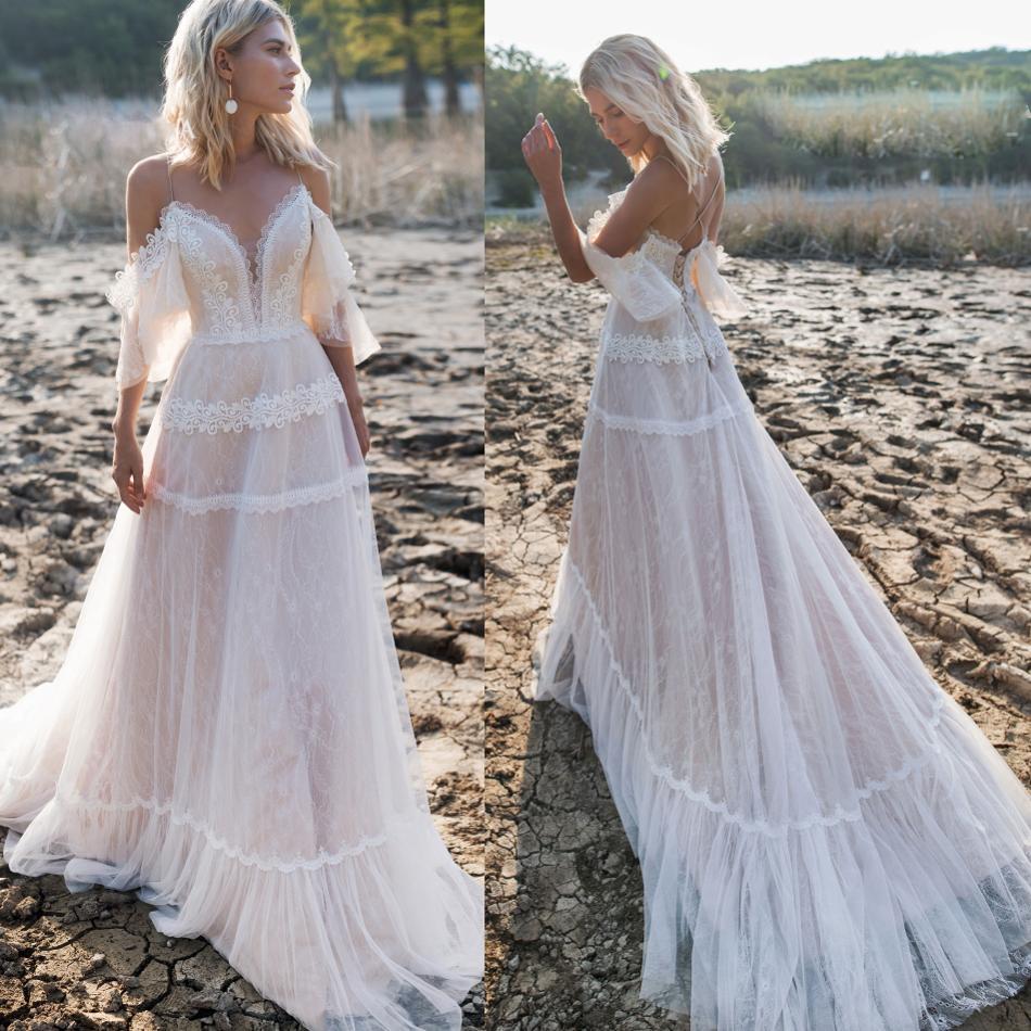 Backless Wedding Dresses 2019: 2019 Bohemian Wedding Dresses Off Shoulder Lace Appliques
