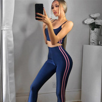 Damesmode Gestreepte Trainingspak Sporting Leggings Fitness Crop Top Tweedelige Set Pakken voor Vrouwen Casual Skinny Broek Past