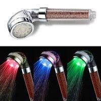 Lumiparty LED Water saving Shower Heads Round Handheld Anion SPA Bath Shower Head RGB Color FilterWater Spray Bathroom