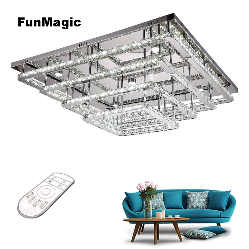 Post-modern 4 Layers Diamond Crystal Rings LED Ceiling Lights Dimming Living Room Bedroom Liighting Ceiling Fixture Dining Lamp