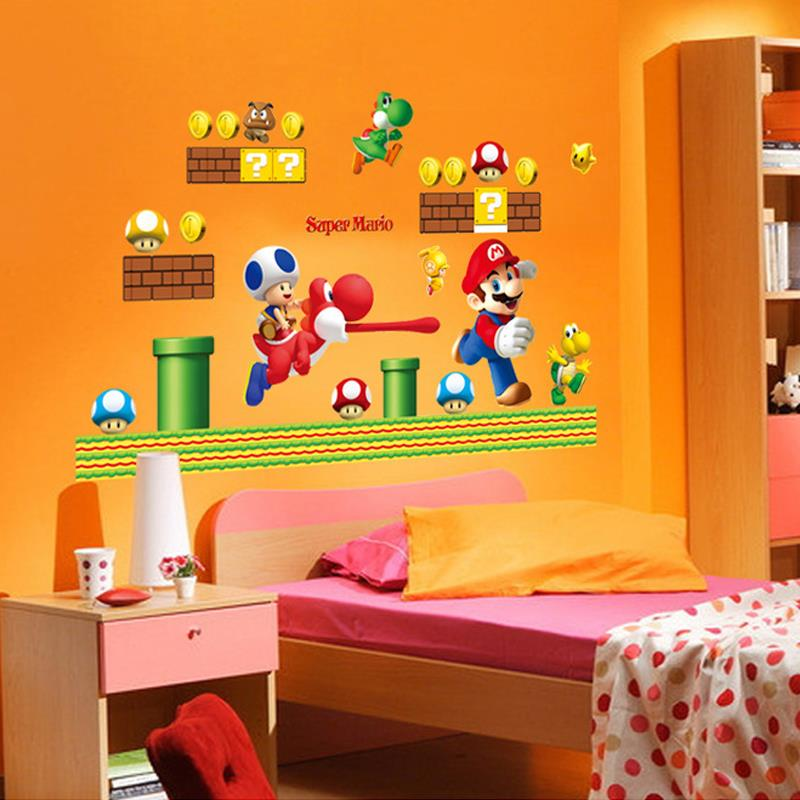 Super Mario Bros Wall Stickers Art Cartoon Wall Decals For Kids Rooms Baby  Room Home Decoration WallPaper Poster 3d Stickers U0026 In Wall Stickers From  Home ...