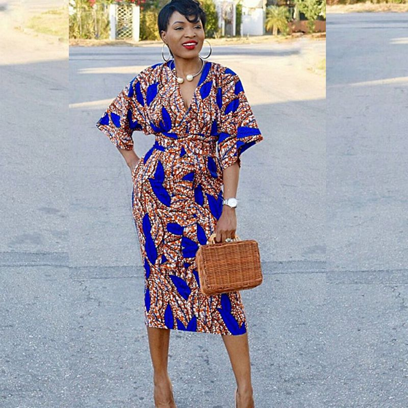 african women printed clothes casual lady outfit dress  dahsiki print africa clothing plus size