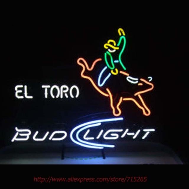 Budweiser Bud Light El Toro Leuchtreklame Neon Birne Echt Glasrohr Handcrafted Bar Pub Restaurant Werbung Rohr Glas Neon 30x24